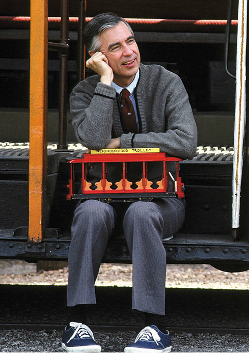 Mr. Rogers sitting with Trolley