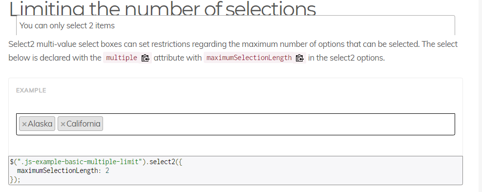 Multi select limit reached alert · Issue #5463 · select2
