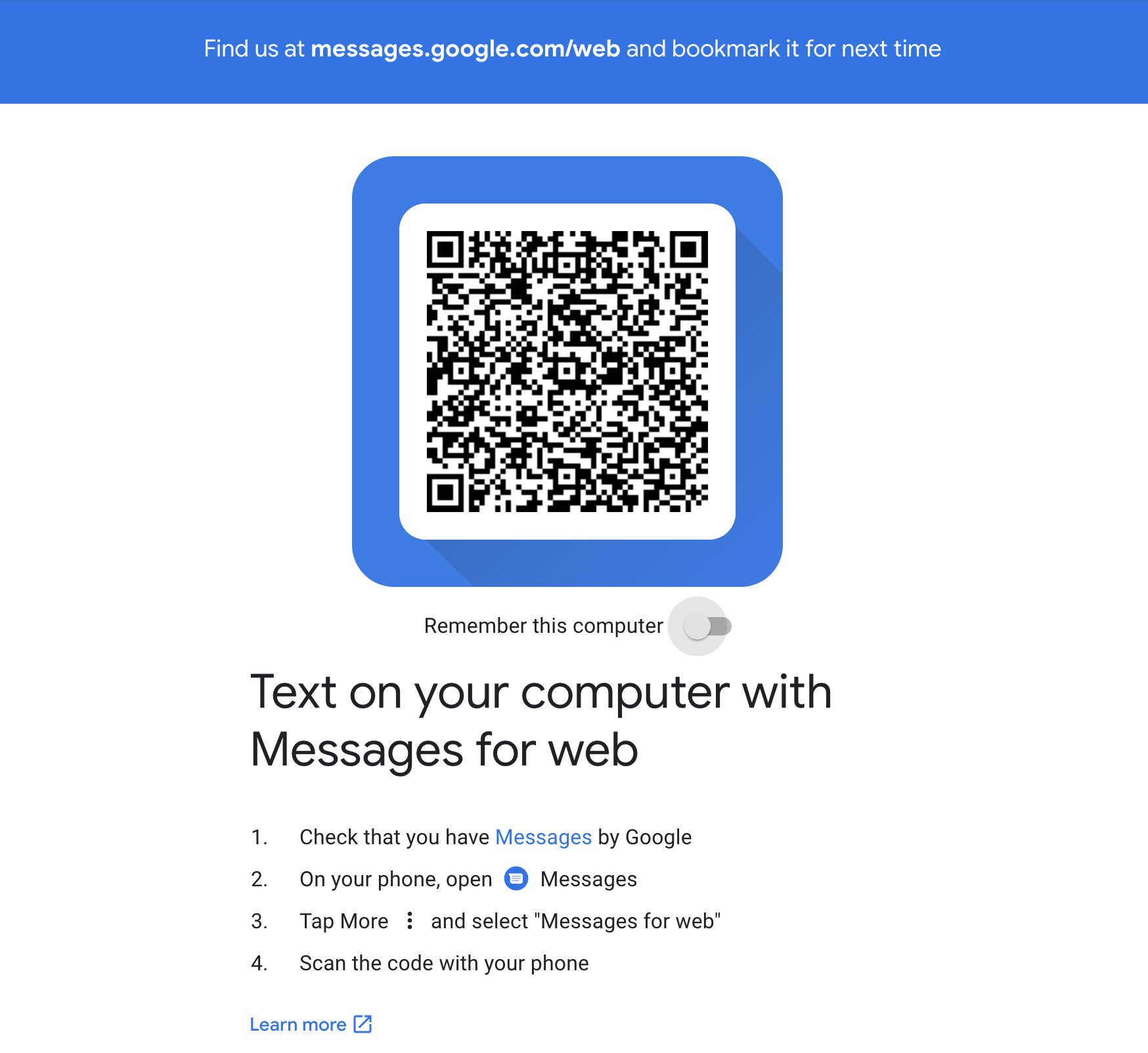 change messages android com to messages google com/web