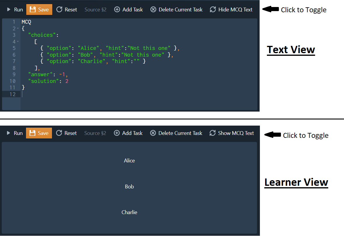 Text and Learner View