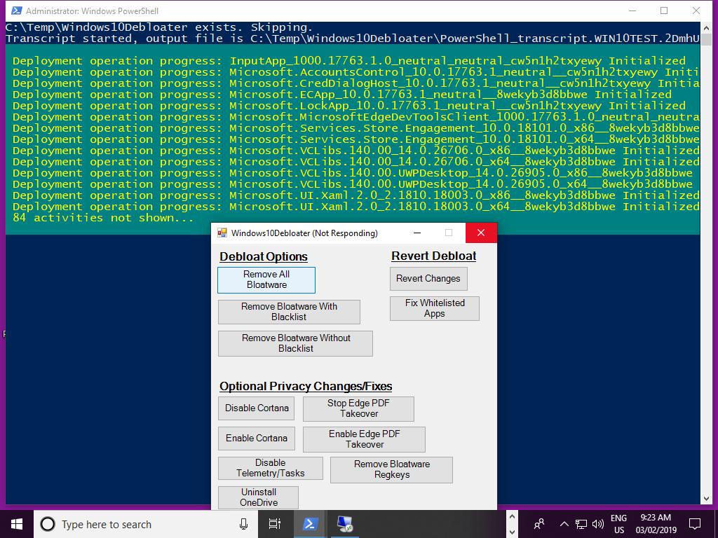 Debloater Hangs · Issue #80 · Sycnex/Windows10Debloater · GitHub