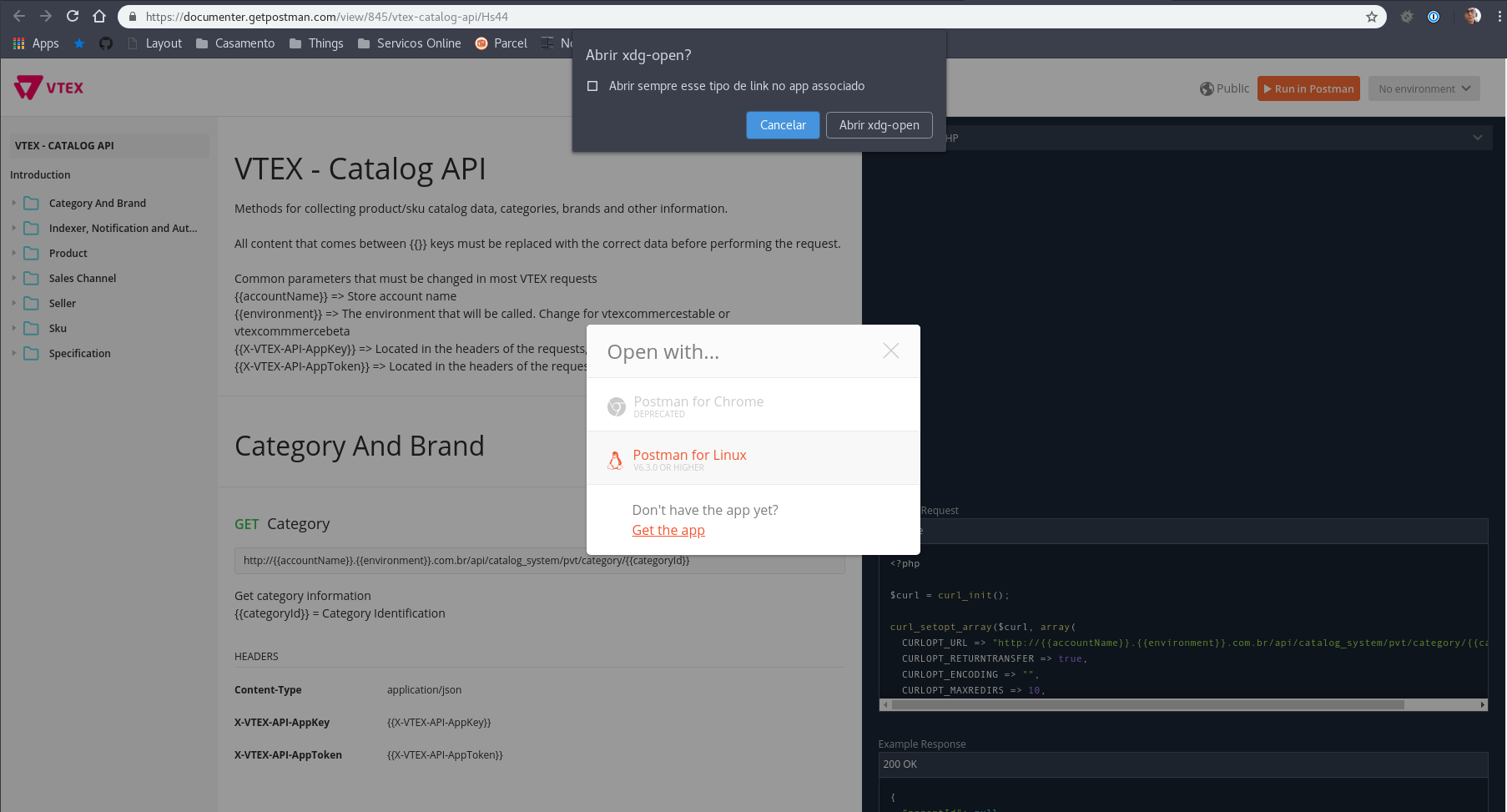 Run in Postman button doesn't open app on Linux · Issue #5273