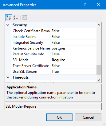 Cannot specify SSL certificates to connect to a SSL secured