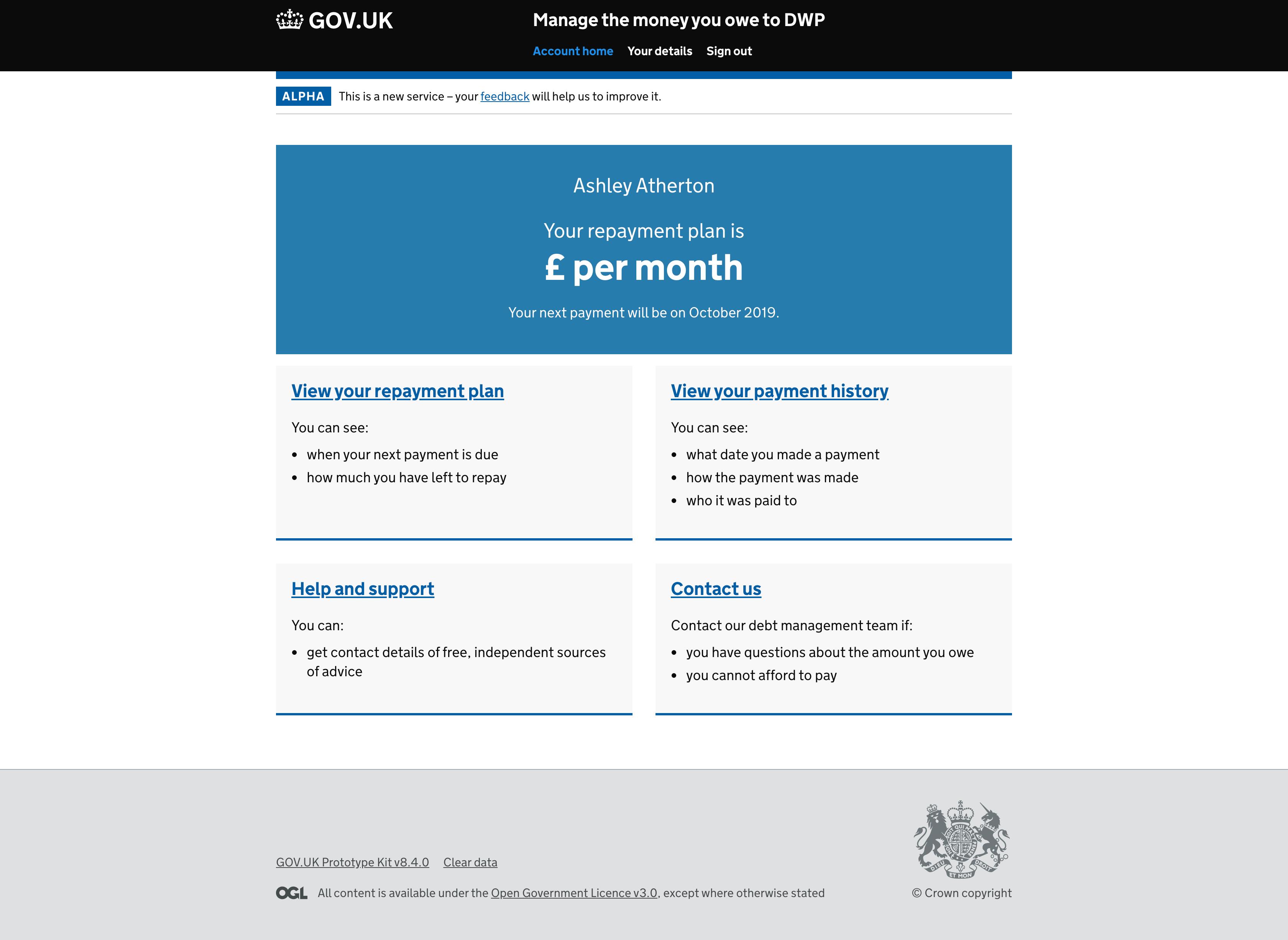 Repayment plan homepage