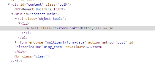 Admin page History button has broken link for historical