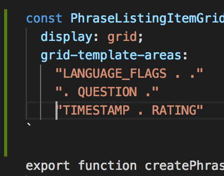 Wrong Syntax Highlighting When Using Grid Template Areas Issue
