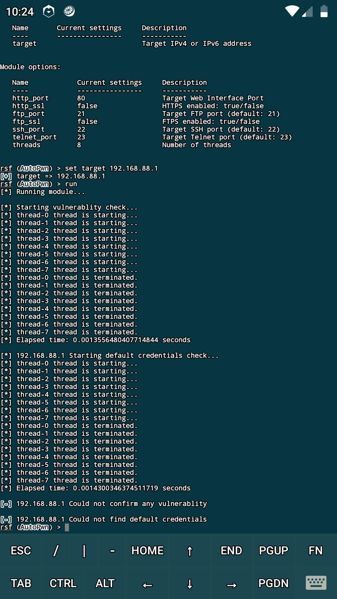Help - when i run routersploit on Kali  it stop working on