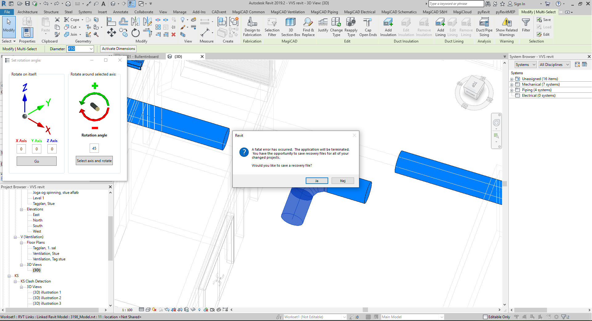 Revit 2019 crashes when using 3D rotate tool · Issue #10