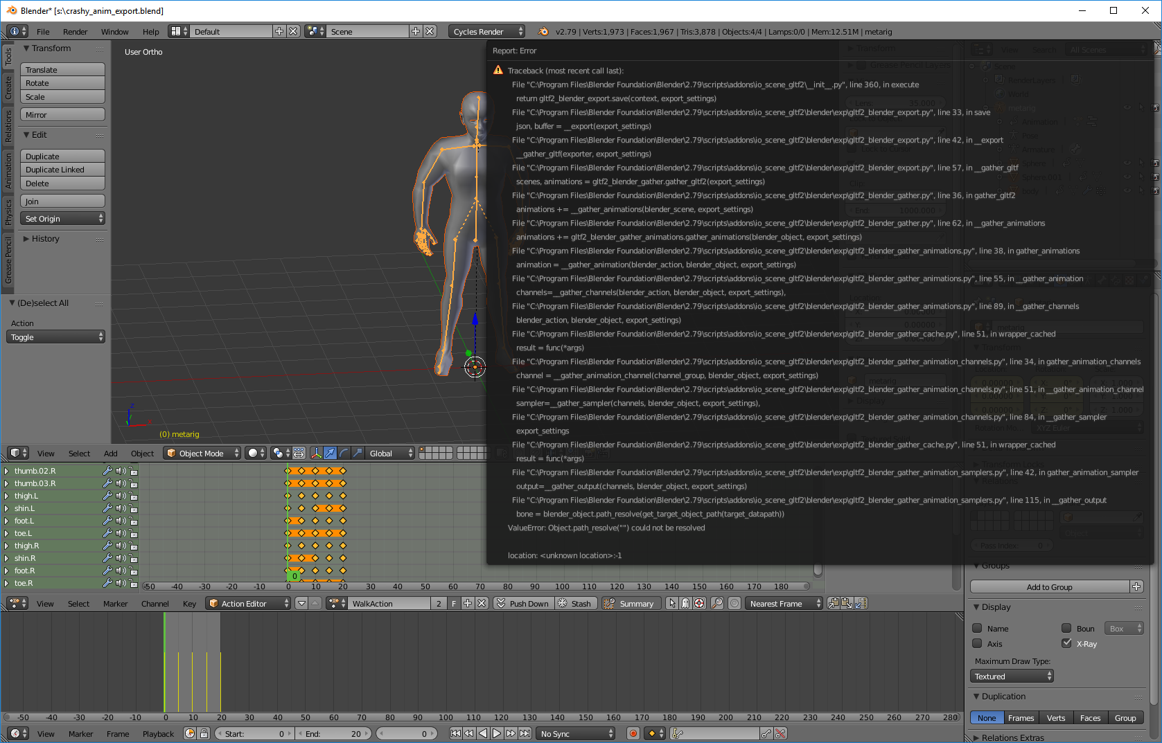 Crash when exporting GLTF animation from Blender · Issue