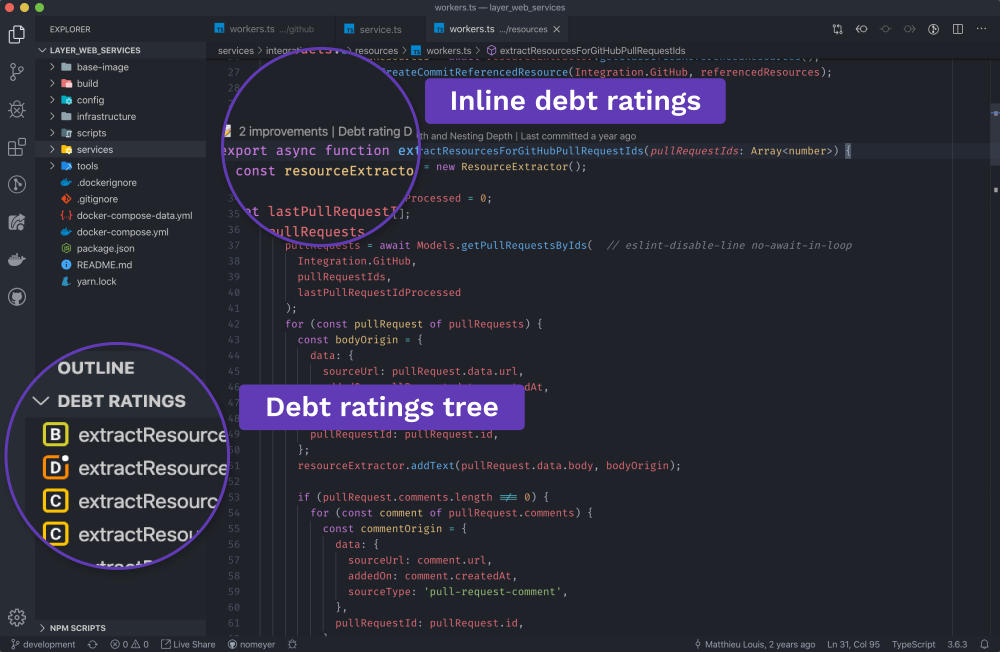 Inline debt ratings & tree view