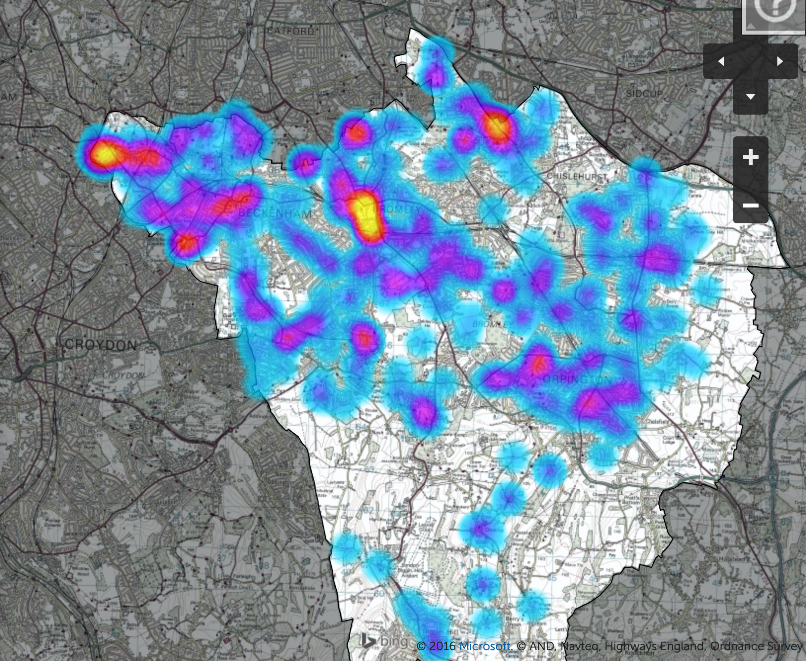 Screenshot of Bromley heatmap showing clusters in the north and north west.