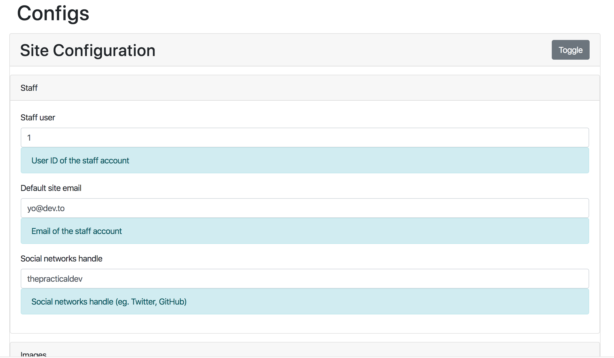 Screenshot of site configuration admin interface