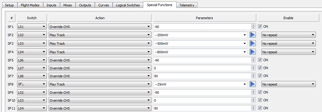 VTX power change - OpenTX Special Functions(basic)