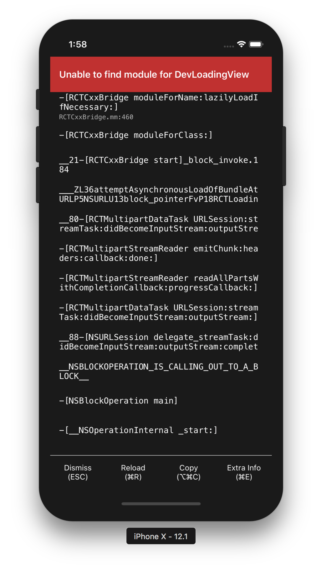 iOS] Simulator error message `Unable to find module for ...