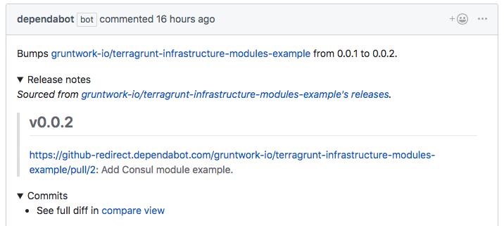 GitHub compare link broken for Terraform module with 'v' tag prefix