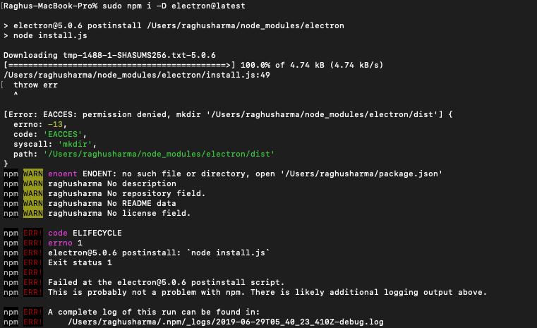 EACCES: permission denied Node v12 4 0 while installing