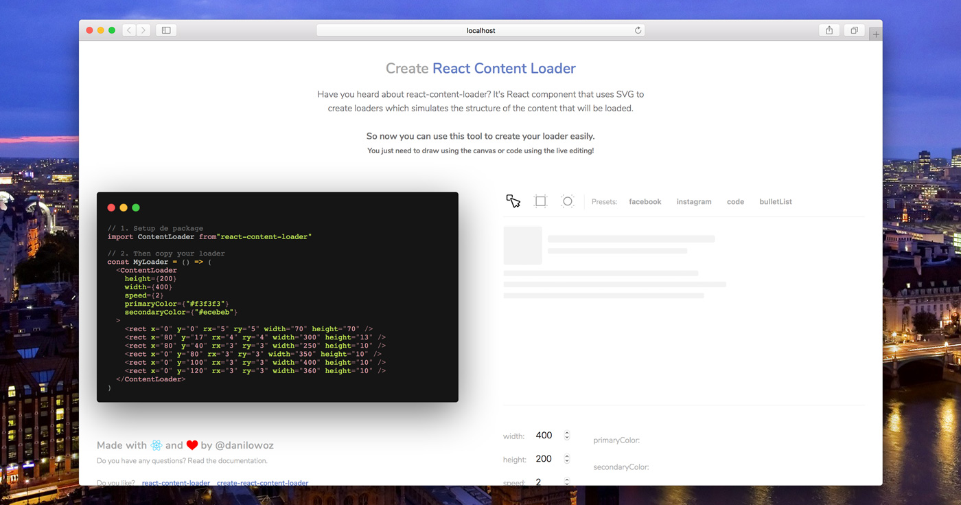Create React Content Loader