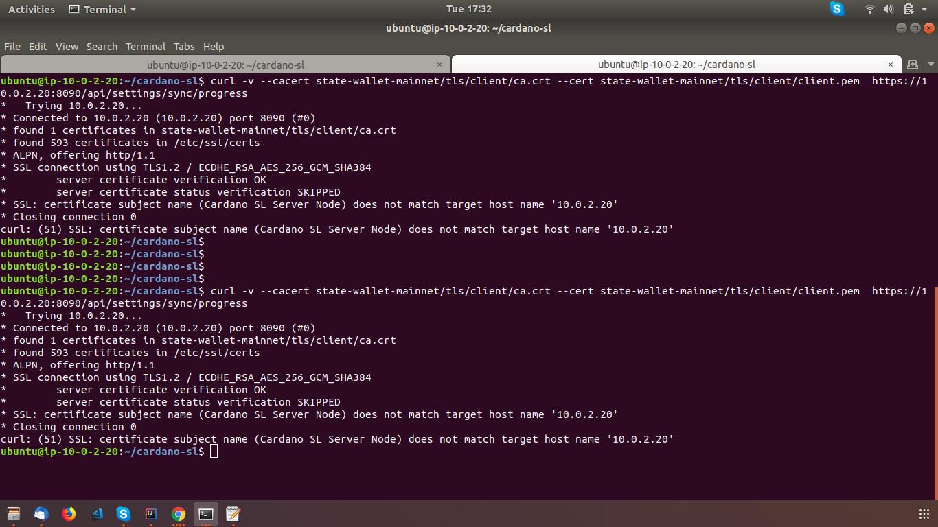 curl: (51) SSL: certificate subject name (Cardano SL Server