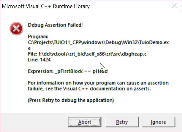 Debug Assertion Failed in Windows 10 · Issue #6 · mkalten