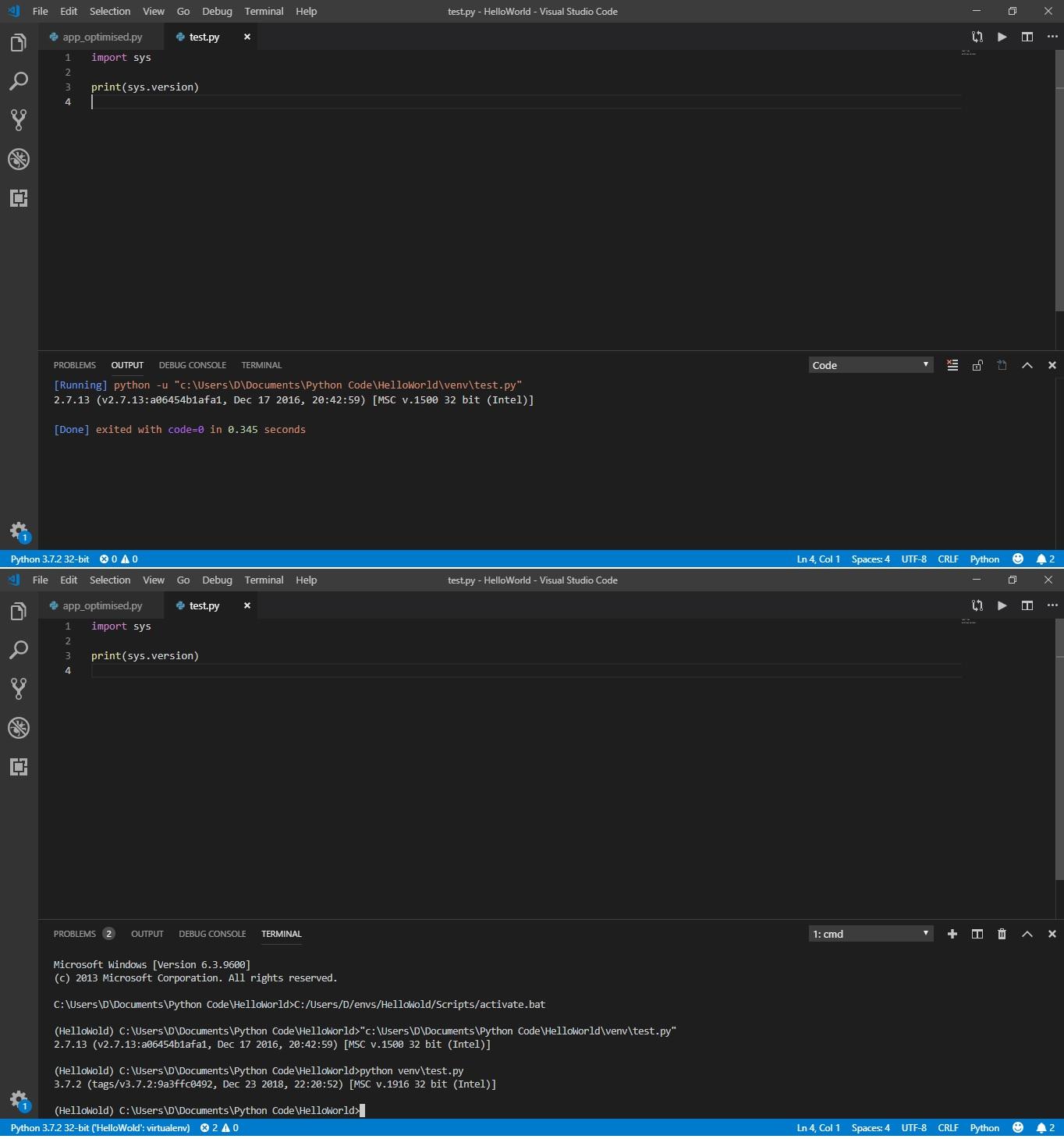 Visual Studio Code not using the selected Python environment