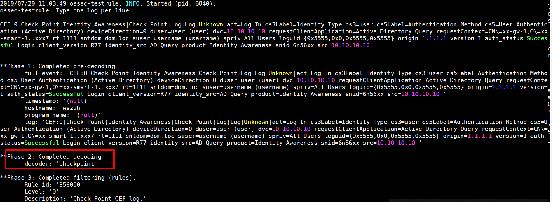 Wazuh Decoder Checkpoint CEF Log error · Issue #3765 · wazuh