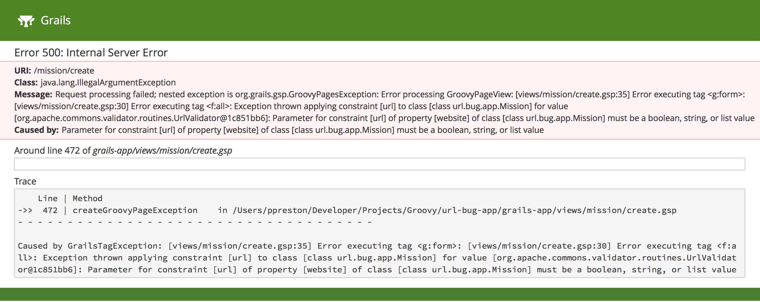 Grails 3 3 url constraint throwing Exception · Issue #10804