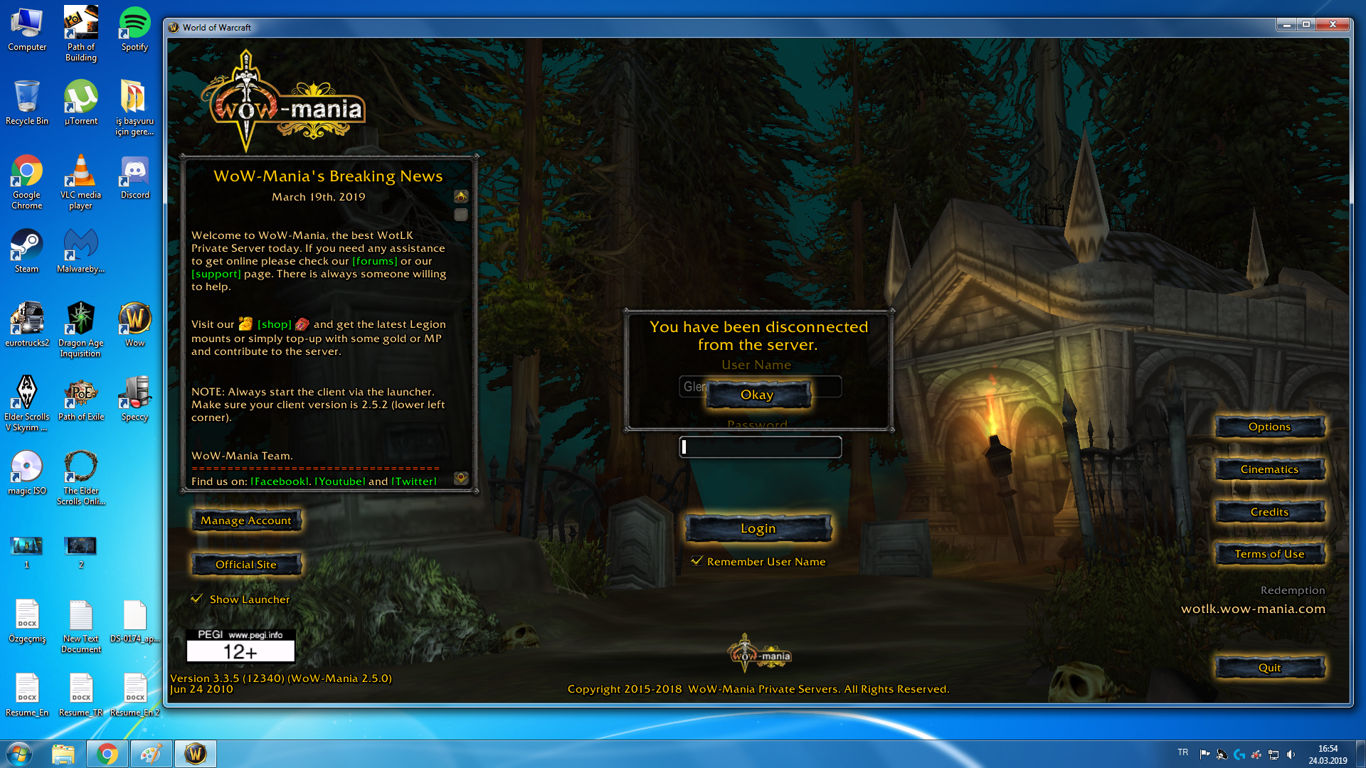 You have been disconnected wow  local server login  2019-05-26