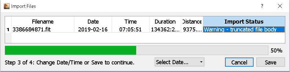 Cant import fit files from garmin connect or stryd power centre