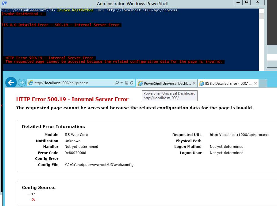 IIS '500 19 - Internal Server Error' · Issue #489