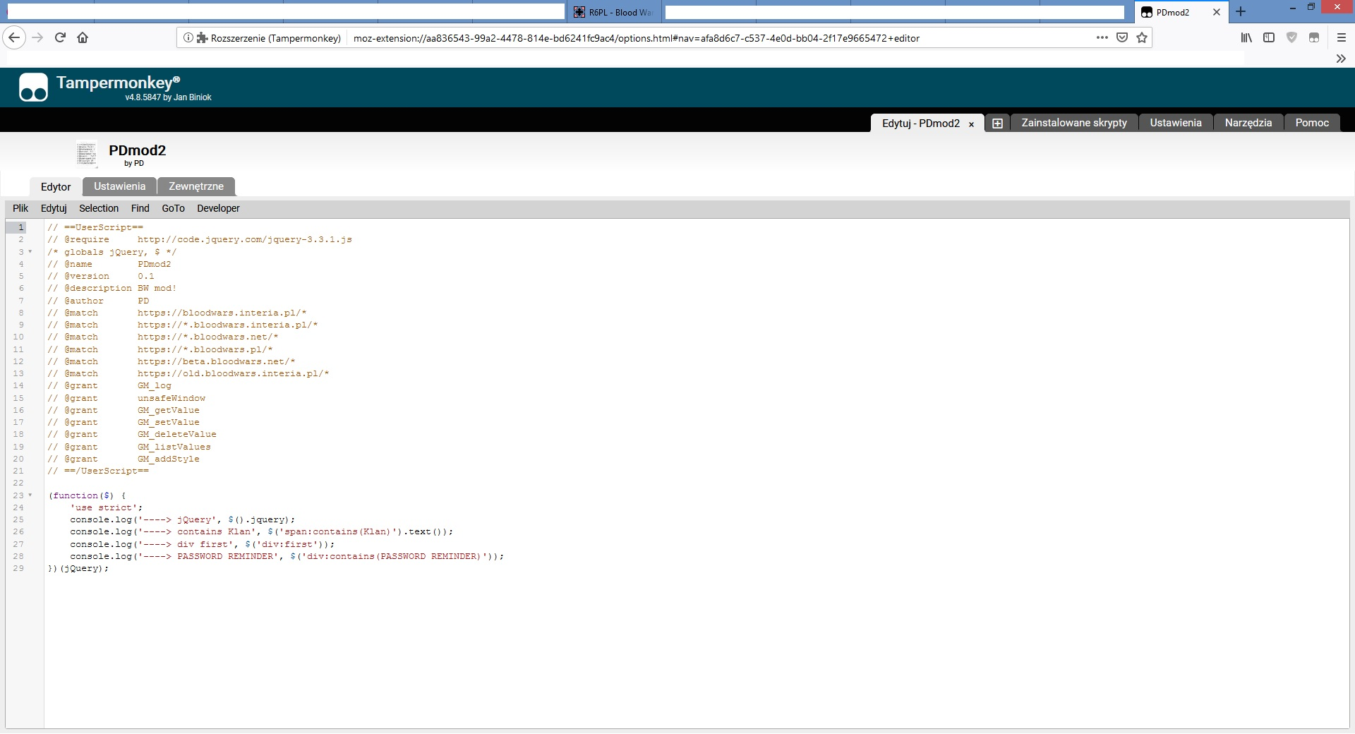 jQuery works on GM (Firefox) but not TM (Firefox/Slimjet
