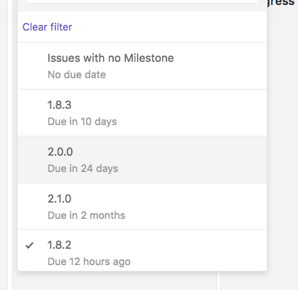 Our milestone 1.8.2 was due yesterday, and now for some reason it appears  at the bottom of the list, below milestones that are still months away.