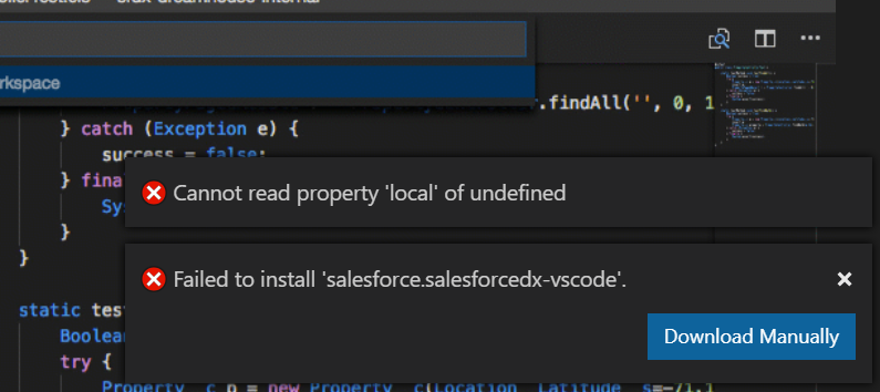Unable to install the Salesforce Extension Pack in Visual Studio