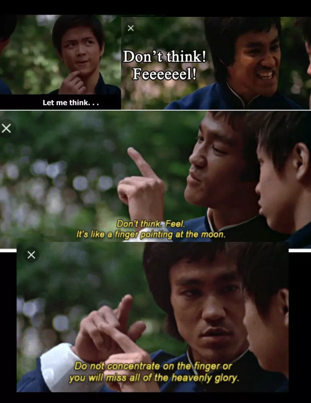 bruce lee,dont think,feel
