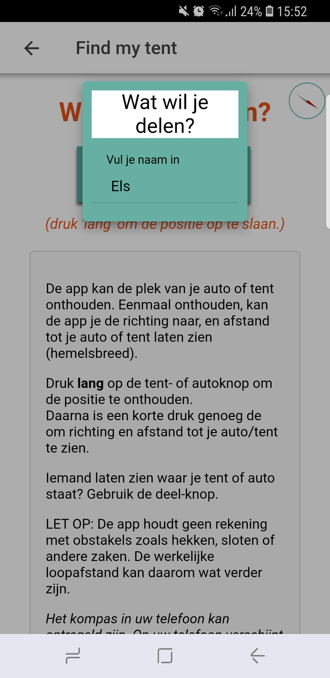 Share button on Find My Tent missing (Android) · Issue #22