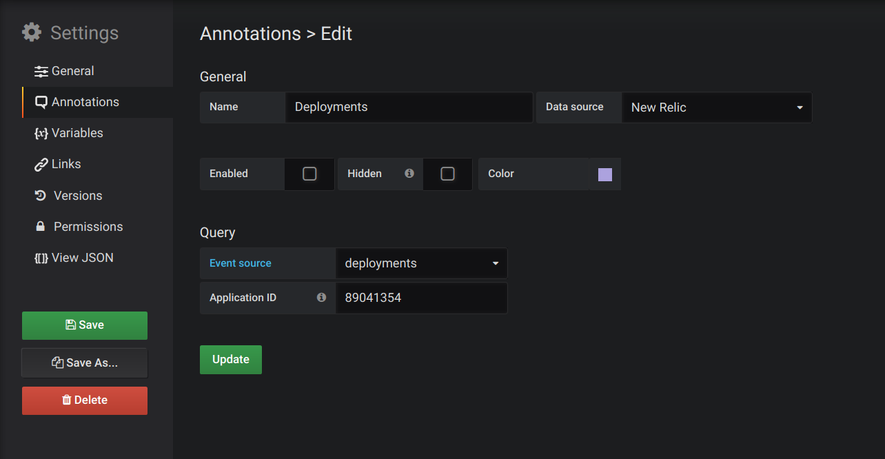 Annotations editor (deployments)