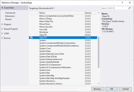 Visual Studio Reference Manager with OpenTK version 1.0.0.0 selected