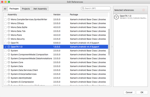 Visual Studio for Mac Edit References window with OpenTK version 1.0.0.0 selected