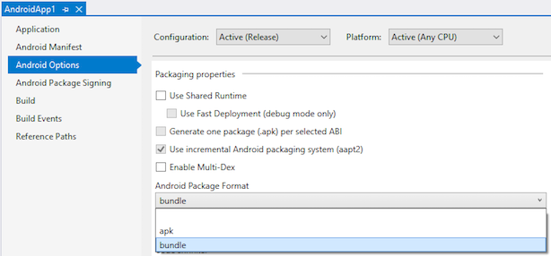 Visual Studio project property pages with bundle Android Package Format selected