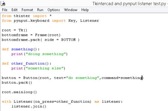 how do i run pynput listener and tkinter object at the same