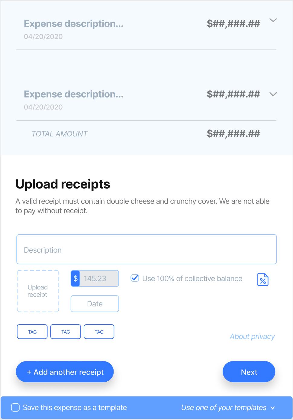 Batch expense