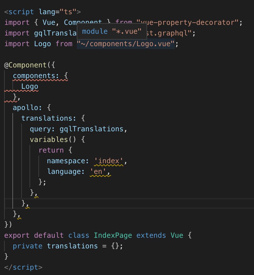 Cannot use apollo in Typescript @Component decorator with