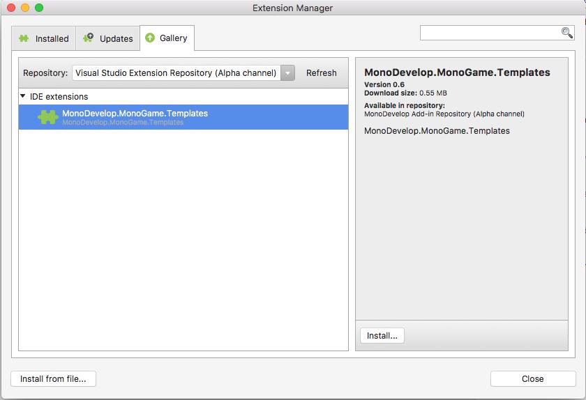 Add Template for Visual Studio Mac · Issue #5647 · MonoGame