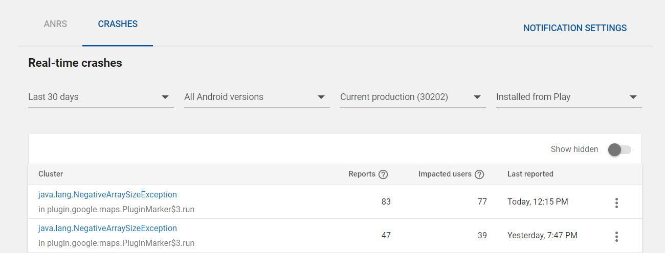 Google Play App Crashes java lang NegativeArraySizeException at