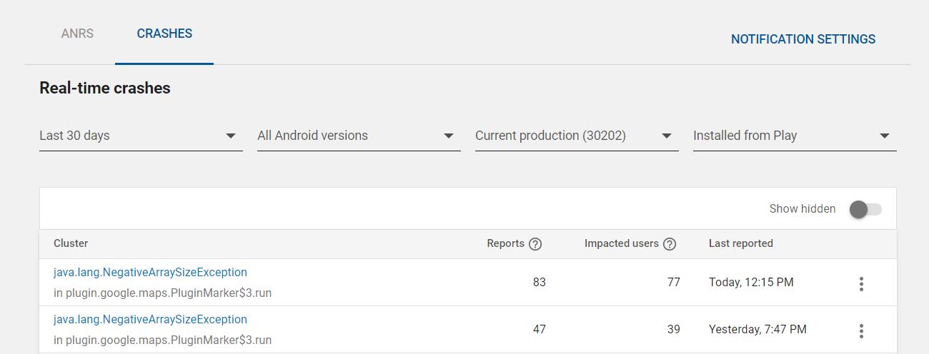 Google Play App Crashes java lang NegativeArraySizeException