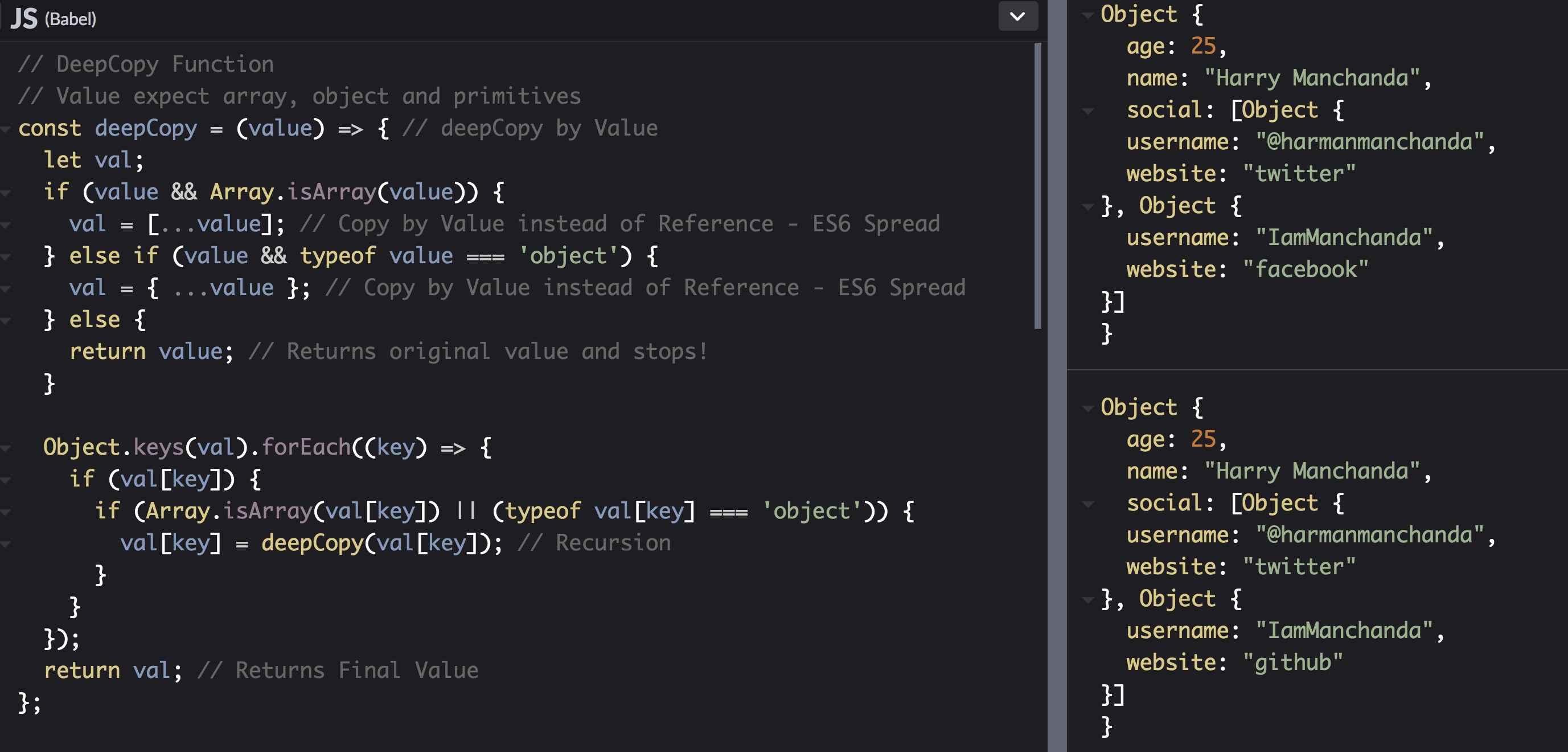 Built-in `deepCopy/deepClone` Prototype for both objects and