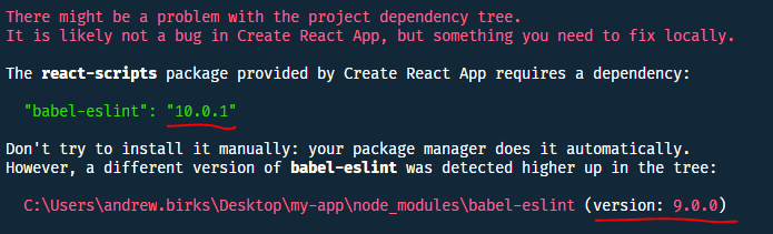 Project dependency tree issue with react-scripts eslint