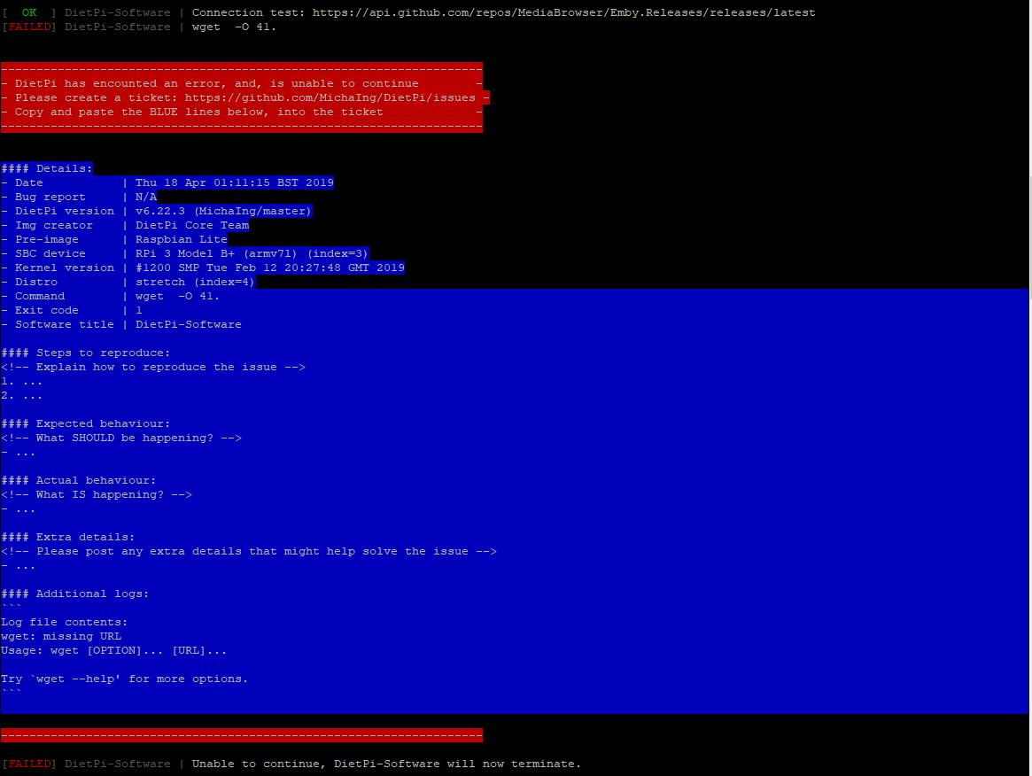 DietPi-Software | Emby Server: Installation failure · Issue