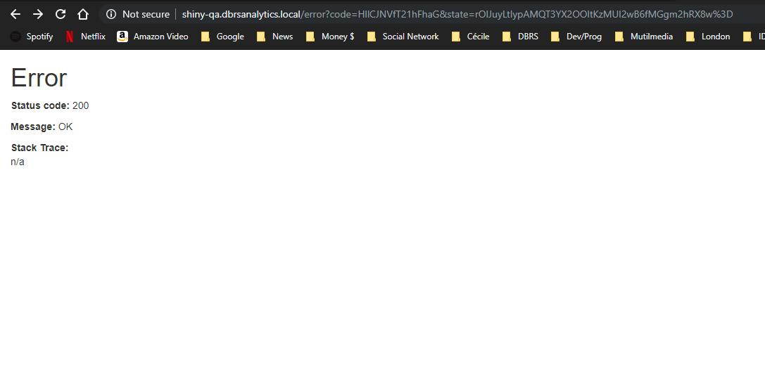 Error status code 200 while hitting landing-page of ShinyProxy