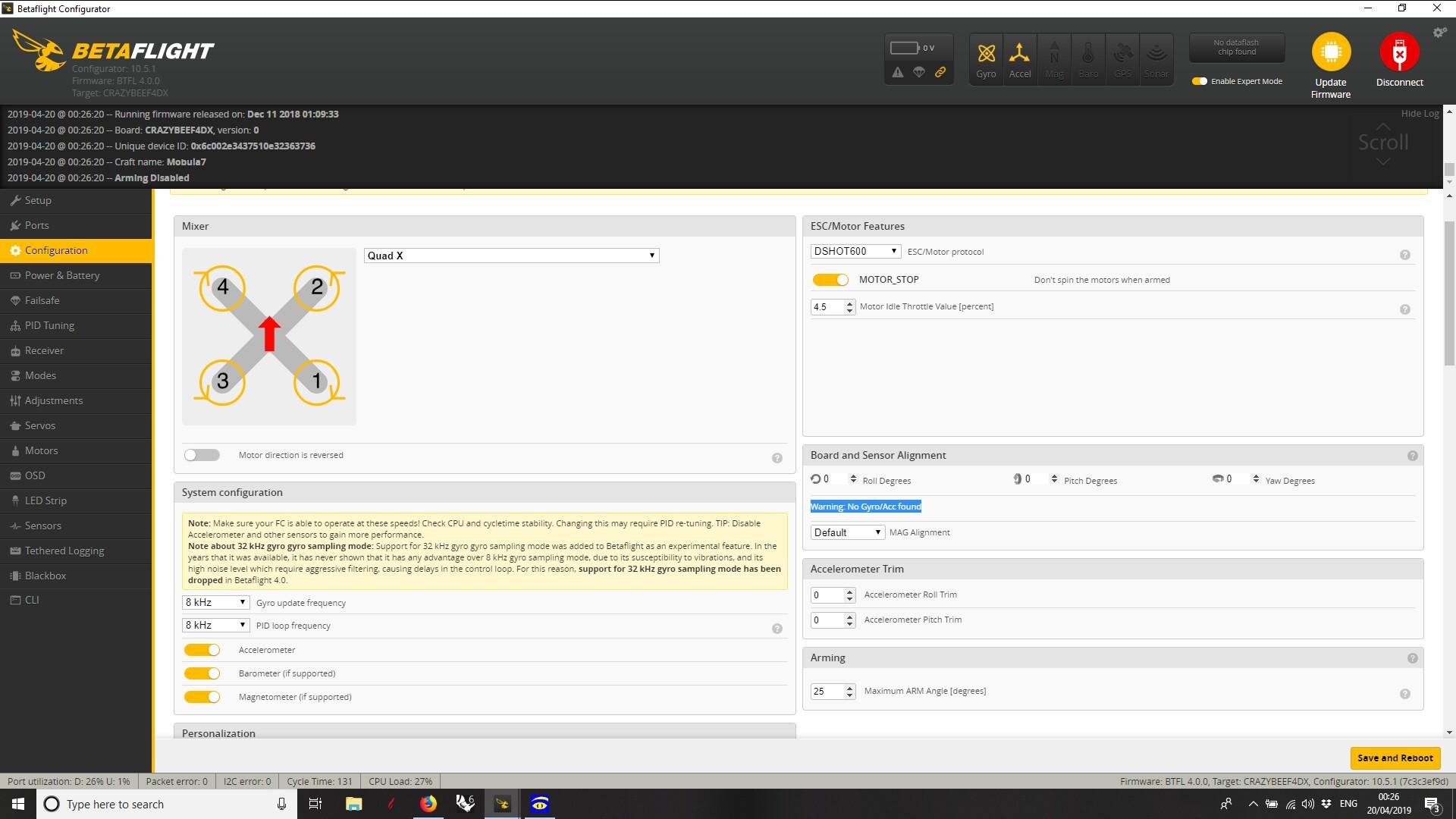 Warning: no gyro/Acc · Issue #8051 · betaflight/betaflight · GitHub