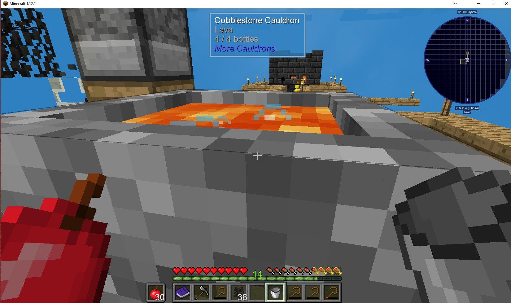 Lava in Cauldrons creates water bubbles particle effect